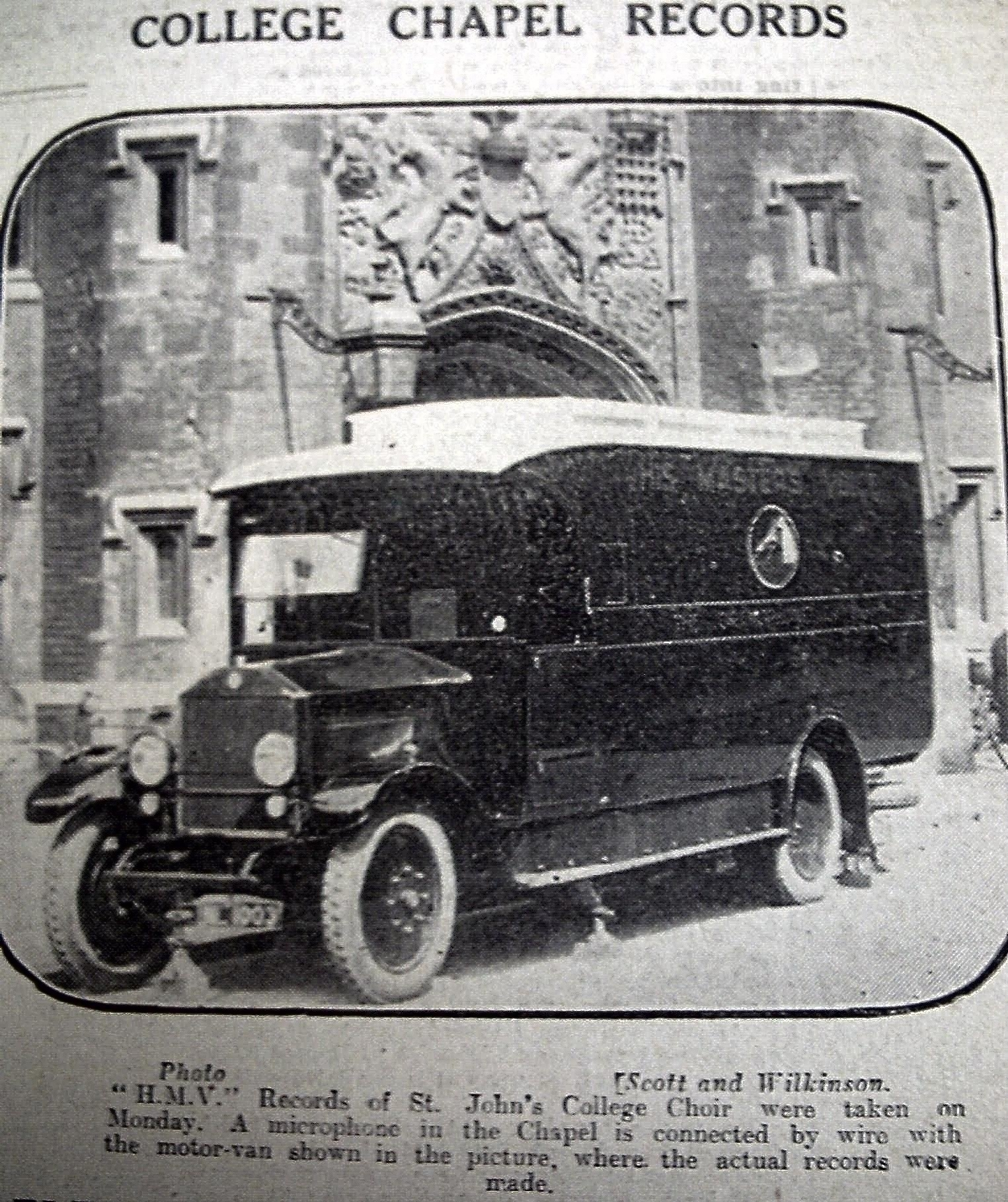 HMV recording van outside the chapel on the day of the recording