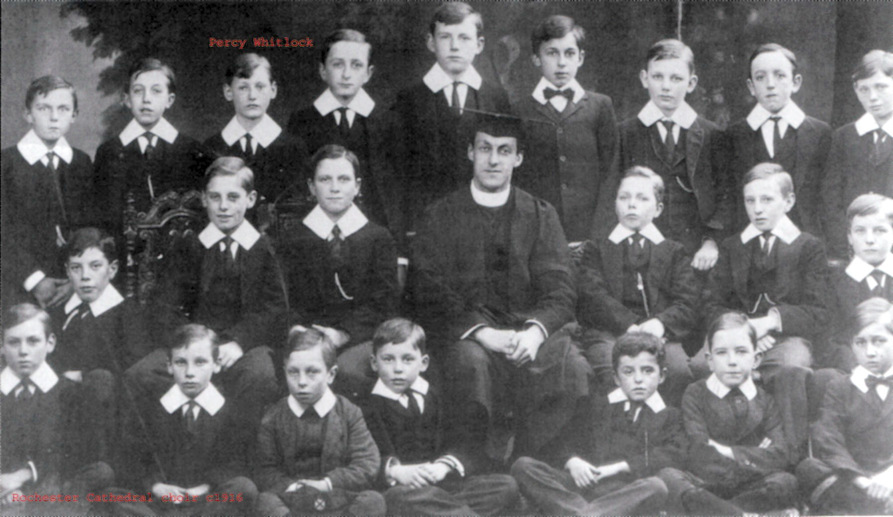 The photograph is from 1916 when Percy Whitlock was a chorister